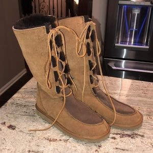 Brown lace up tall ugg boots